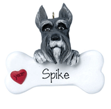 Gray and White SCHNAUZER with a bone ~ Personalized Christmas Ornament