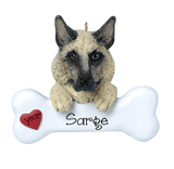 GERMAN SHEPARD with a bone ~ Personalized Christmas Ornament