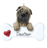 Shar Pei with a bone ~ Personalized Christmas Ornament