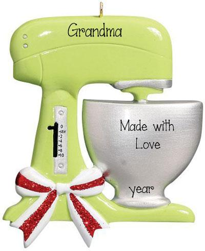 Green mixer for Grandma's cooking~ Personalized Christmas Ornament