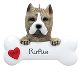 Pit Bull with a bone ~ Personalized Christmas Ornament