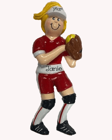 Softball Player Blonde ~ Personalized Christmas Ornament