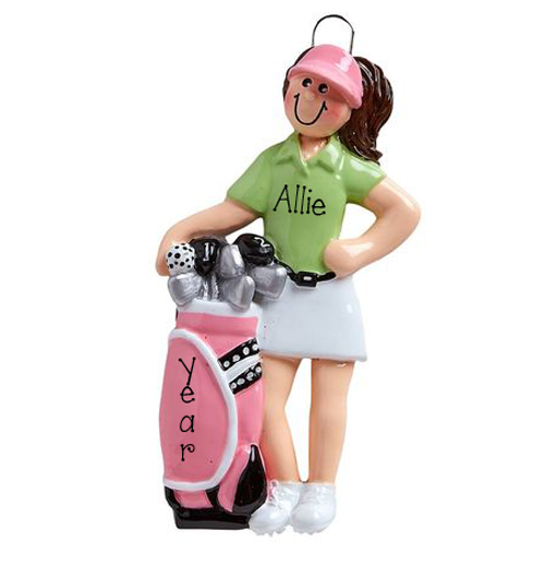 Female Golfer with a Pink Golf Bag ~ Personalized Christmas Ornament