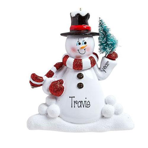 SNOWMAN Black Hat and Red Scarf-Personalized Ornaments