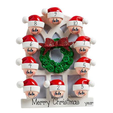 Family of 10-around an Arched window~Personalized Christmas Ornament