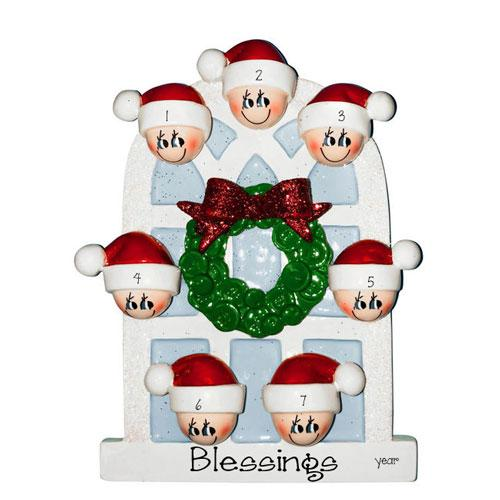 7 GRANDKIDS~On an Arched Window~Personalized Ornament