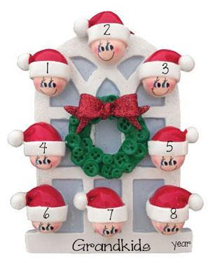 8 GRANDKIDS~On an Arched Window~Personalized Christmas Ornament