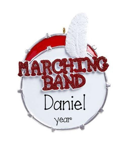 mARCHING BAND IN rED gLITTER ON A dRUM~Personalized Christmas Ornament