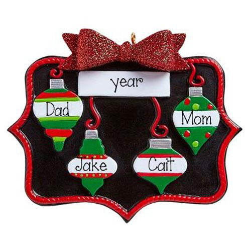 FAMILY OF 4~Slate Board trimmed in Red Glitter~Personalized Christmas Ornament