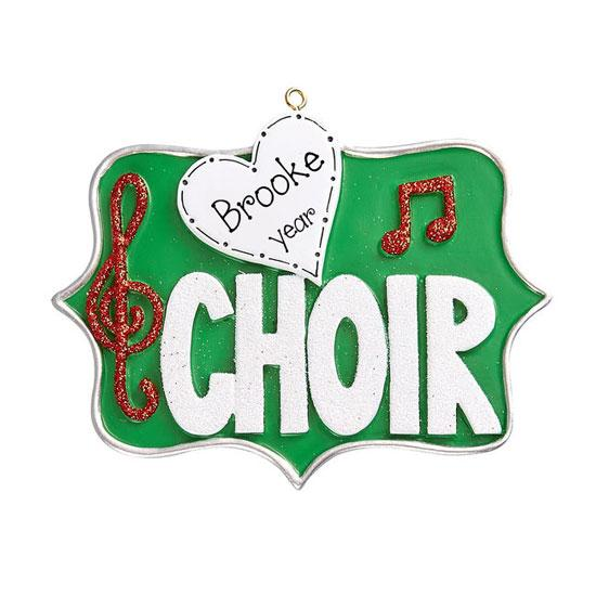 love Choir with Red Glitter Music notes~Personalized Christmas Ornament