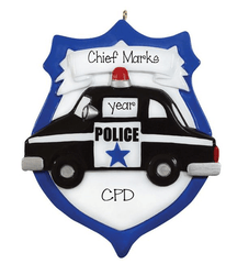Black Police Car ~ Personalized Christmas Ornament