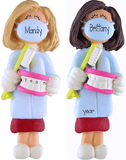 Female Brunette or Blonde Dental  Hygienist  ~ Personalized Christmas Ornament