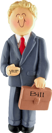 Business Man holding a Briefcase~Personalized Christmas Ornament