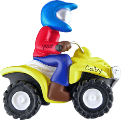 ATV 4 wheeler with a rider ~ Personalized Christmas Ornament