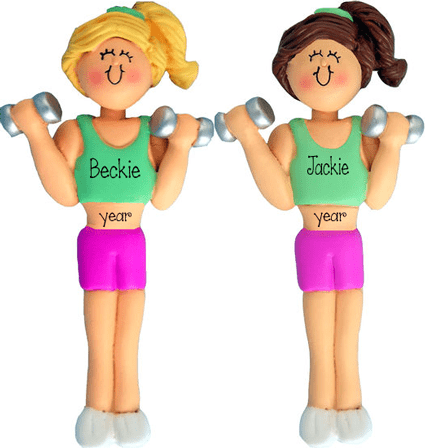 Blonde or Brunette woman working out~Personalized Christmas Ornament
