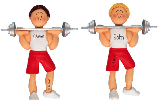 Blonde or Brunette Male Weight Lifter ~Personalized Christmas Ornament
