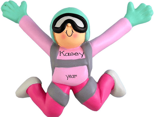 Female Skydiving ~ Personalized Christmas Ornament