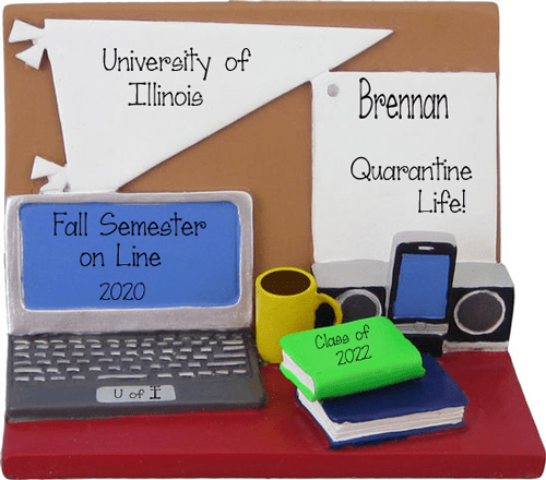 Desk with laptop, Books, cell phone, cup of coffee,,,college life~Personalized Christmas Ornament