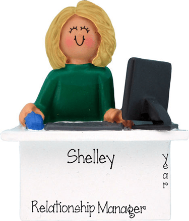 Blonde Business Woman Sitting behind a Desk~Personalized Ornament