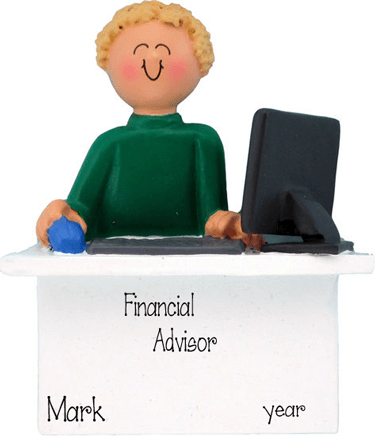 Blonde Business Man Sitting behind a Desk ~ Personalized Christmas Ornament