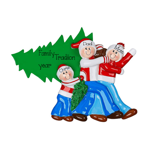 Christmas Tree Family of 3~Personalized Tabletop Decor`