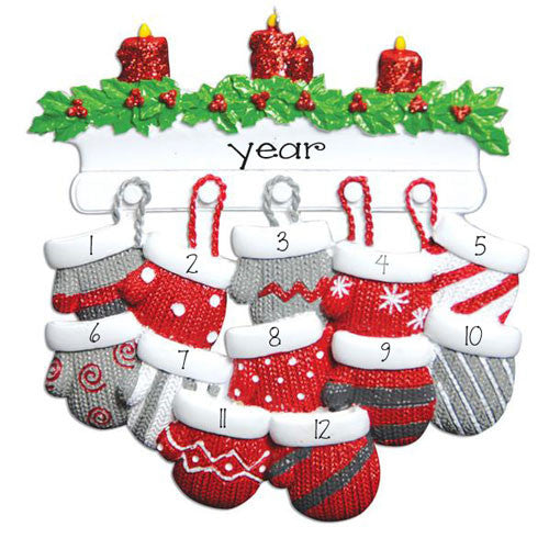 Family of 12 Mitten on Mantel Ornament, my personalized ornament