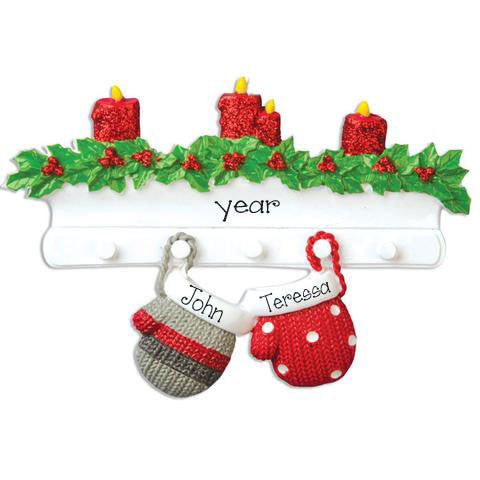 two mittens hanging from mantel, my personalized christmas ornaments