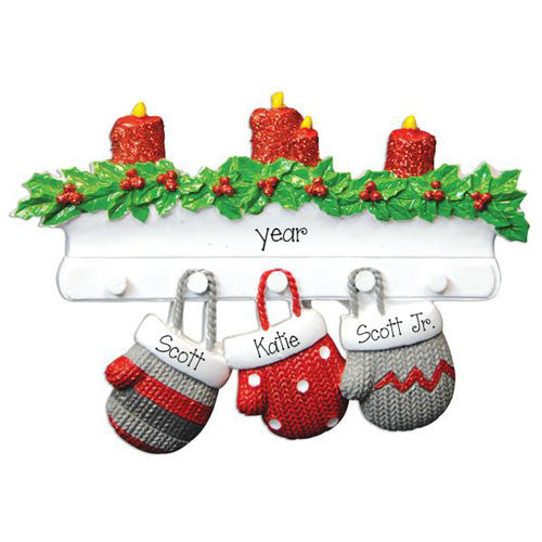 Mitten Family of 3-Personalized Ornament