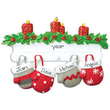 Family of 4 Mitten on Mantel Ornament, my personalized ornament