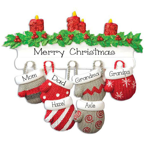 MITTEN~Family of 6~Personalized Christmas Ornament