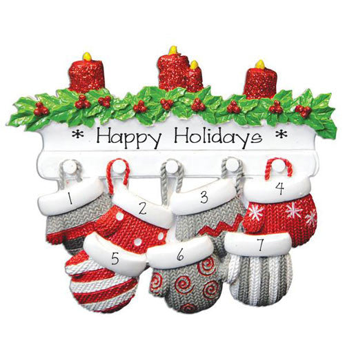 Family of 7-Mitten Personalized Ornament