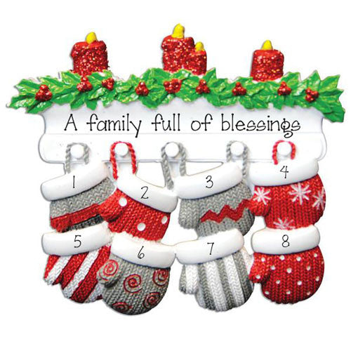 Family of 8-Mitten Personalized Ornament