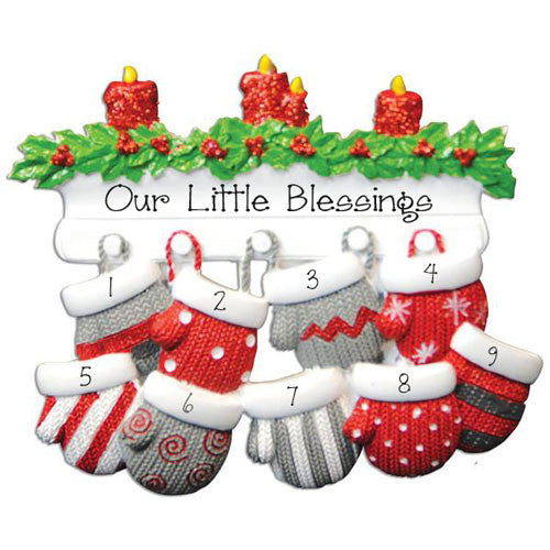 Family of 9-Mitten Personalized Ornament