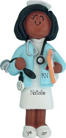 African American/Ethnic Nurse Personalized Ornament