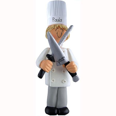 CHEF / COOK w/ knife Personalized Ornament (blonde)