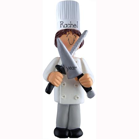 CHEF / COOK w/ knife Personalized Ornament (brunette)