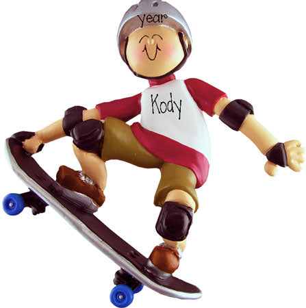 SKATEBOARDER WITH SILVER HELMET ORNAMENT / MY PERSONALIZED ORNAMENTS