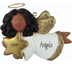AFRICAN AMERICAN, ethnic ANGEL TRIMMED IN GOLD, MY PERSONALIZED CHRISTMAS ORNAMENT