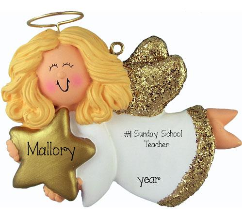 blonde ANGEL Sunday School teacher TRIMMED IN GOLD, MY PERSONALIZED CHRISTMAS ORNAMENT