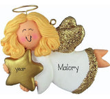 blonde ANGEL TRIMMED IN GOLD, MY PERSONALIZED CHRISTMAS ORNAMENT