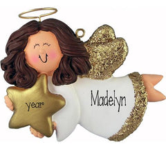 Brunette ANGEL TRIMMED IN GOLD, MY PERSONALIZED CHRISTMAS ORNAMENT