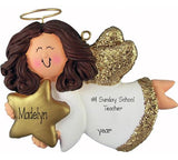 Sunday school teacher, ANGEL TRIMMED IN GOLD, Brunette, MY PERSONALIZED CHRISTMAS ORNAMENT