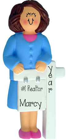 REALTOR brunette female Personalized Ornament