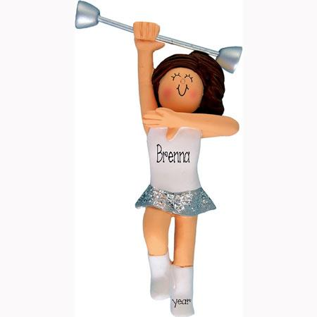 BATON TWIRLER BRUNETTE ORNAMENT, My Personalized Ornaments