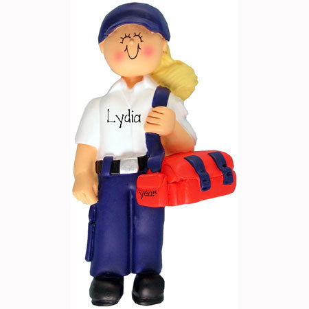 Emergency Medical Tech Ornament (EMT blonde Female)