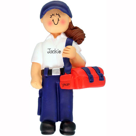 Emergency Medical Tech Ornament (EMT Brunette Female)
