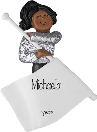African American/Ethnic Flag Girl Personalized Ornament