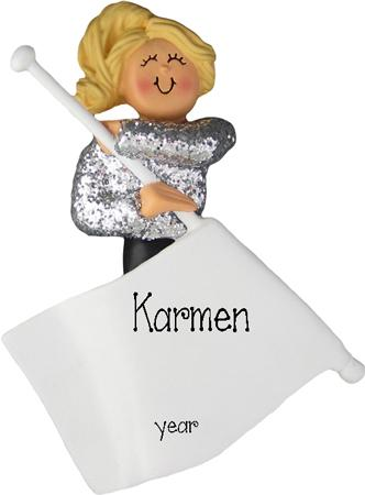 Blonde Flag Girl Personalized Ornament
