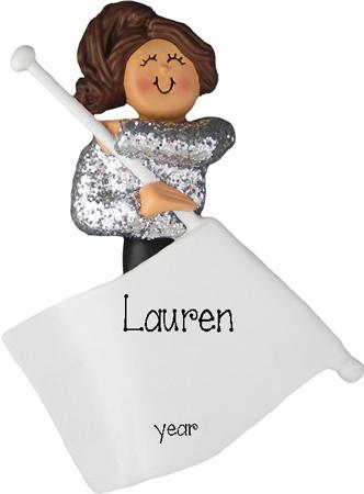 Brunette Flag Girl Personalized Ornament