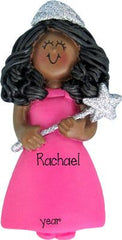 AFRICAN AMERICAN princess with pink gown, MY PERSONALIZED CHRISTMAS ORNAMENT